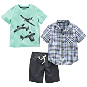 Simple Joys by Carter's Baby Boys' Toddler 3-Piece Playwear Set, Mint Airplane/Plaid/Gray, 4T
