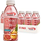 Premier Protein Clear Drink, Tropical Punch, 20g Protein, 0g Sugar, 1g Carb, 90 calories, Keto Friendly, Gluten Free, No Soy