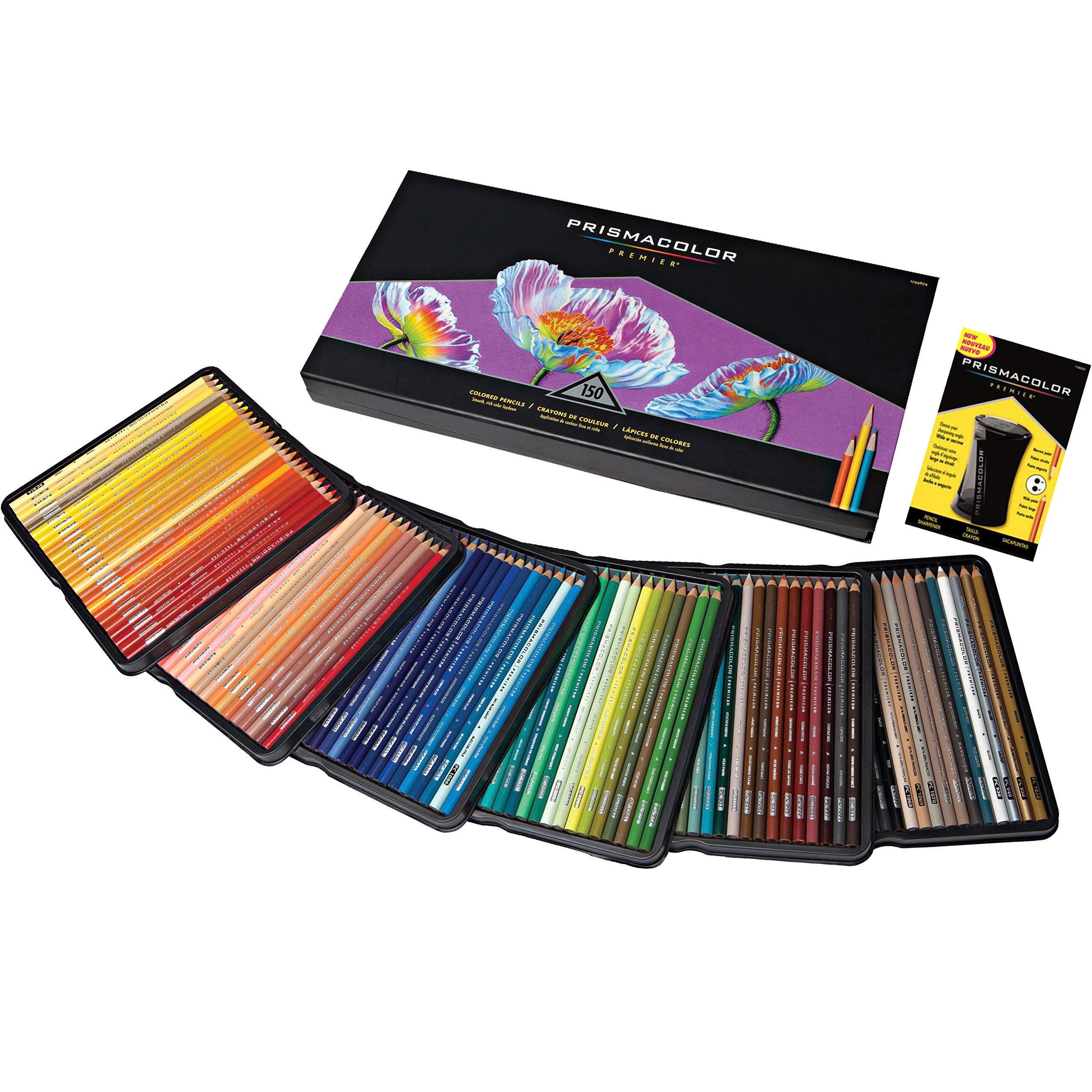 Prismacolor Premier Soft Core Colored Pencil, Set of 150 Assorted Colors with Pencil Sharpener by PRISMACOLOR