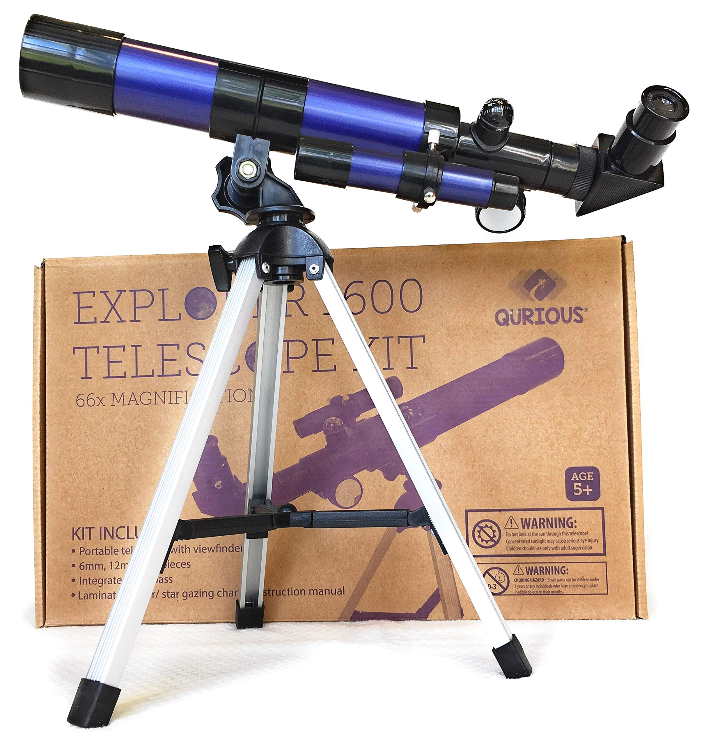 Qurious Space Kid's Explorer Telescope Gift Kit w Eco Carry Case 1600 | Children & Astronomy Beginners | Moon Travel Scope | Table-top Tripod | Compass| Glow-in-The-Dark Stickers | Science Education by Qurious