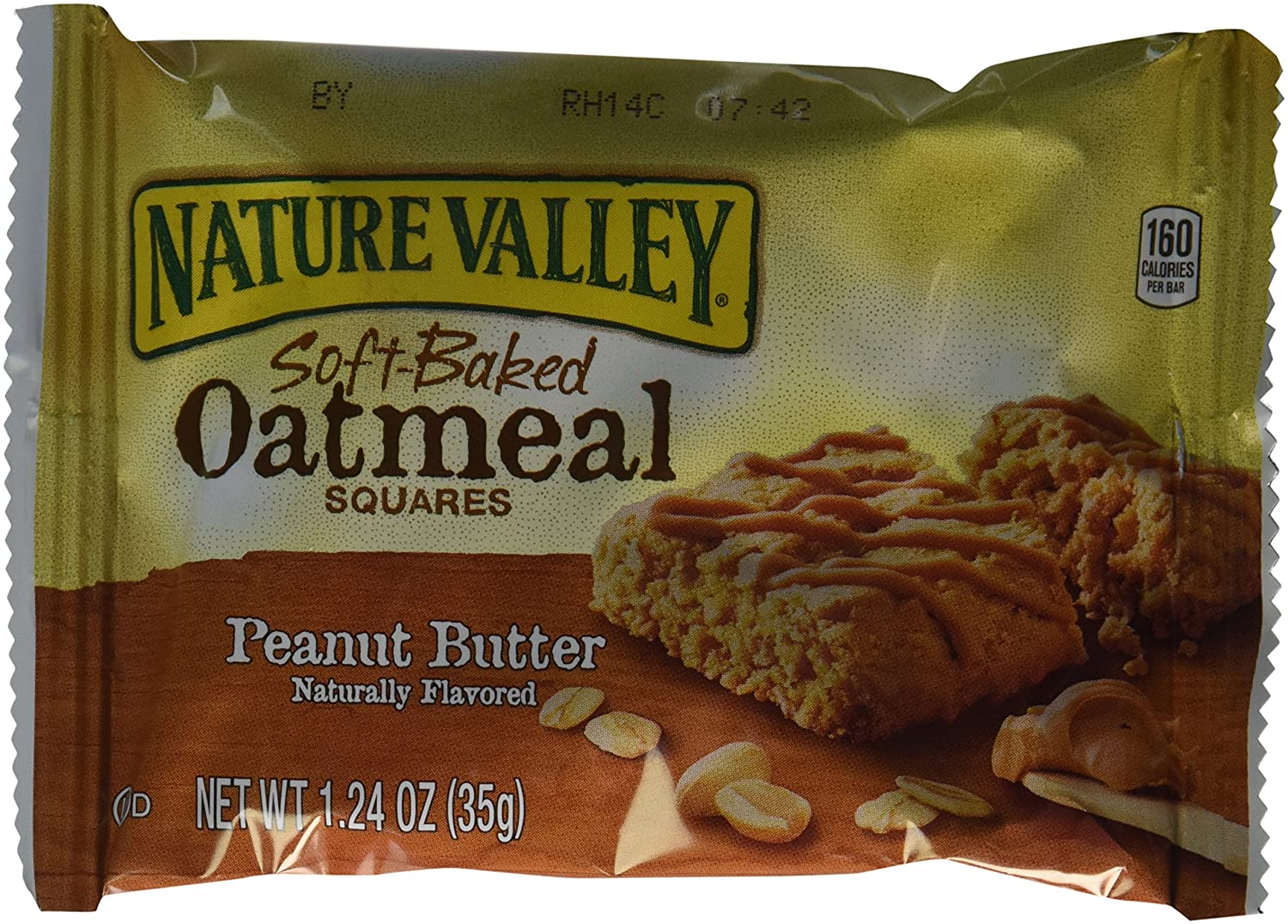 Nature Valley, Soft-Baked Oatmeal Squares, Peanut Butter, 7.44oz Box (Pack of 2)