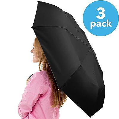 GOumbrella 3pack Compact Travel Sun Rain Windproof Umbrella - Auto Open/Close Button