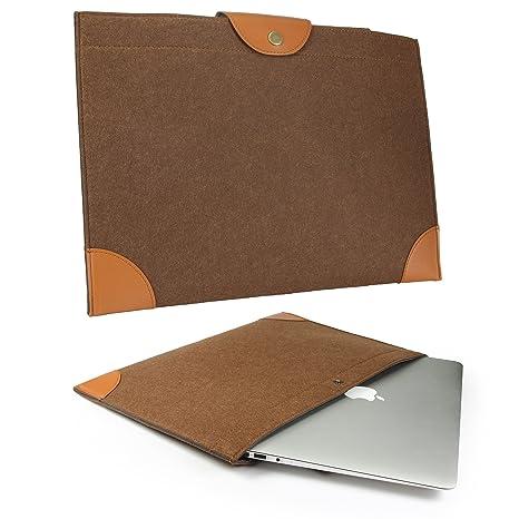 Urcover® Bolso Universal Ordenador Portátil 15.4 Pulgadas en Fieltro Marrón   Funda Laptop Diseño Ultra