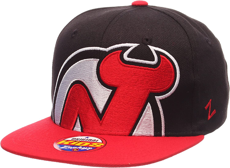 Kids Size Adjustable Flat Bill Baseball Hat Zephyr Youth NHL Adjustable Snapback Cap
