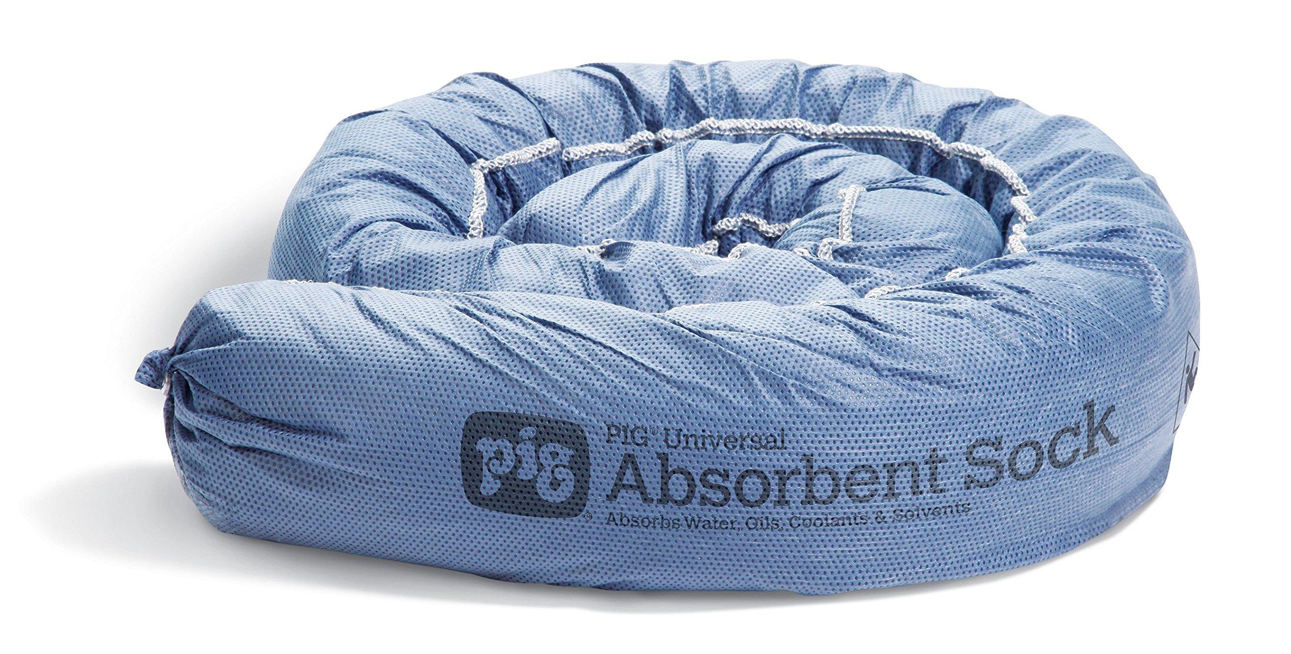 New Pig Mildew-Resistant Absorbent Sock, Water Absorbing Snake, 1-Gal Absorbency, 48'' L x 3'' Diam, Blue (Pack of 12), PIG105-BL
