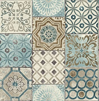 Moroccan Style Mosaic Wallpaper in Blue Blue Copper Gray