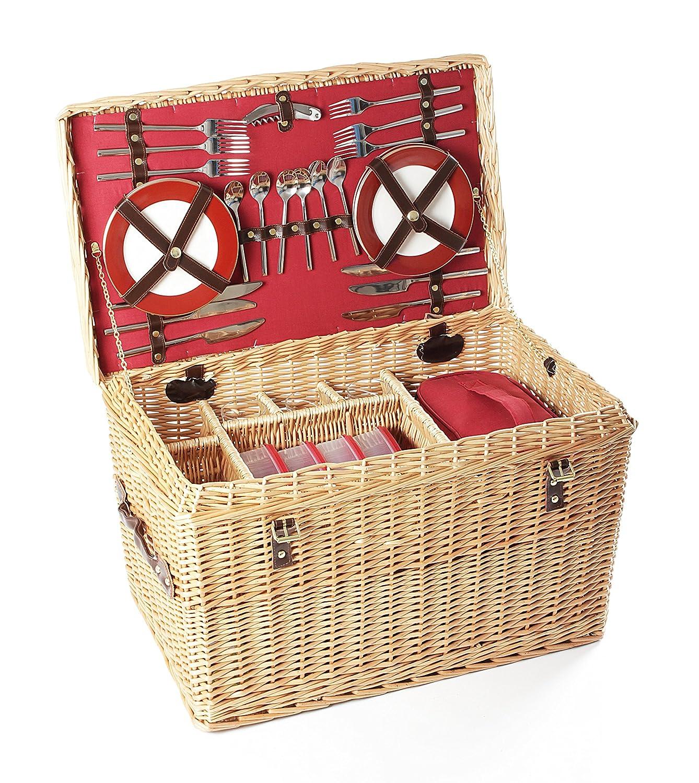 Greenfield Collection Blenheim - Cesta de picnic en mimbre, para 4 personas, color marrón I-Fulfilment GG020