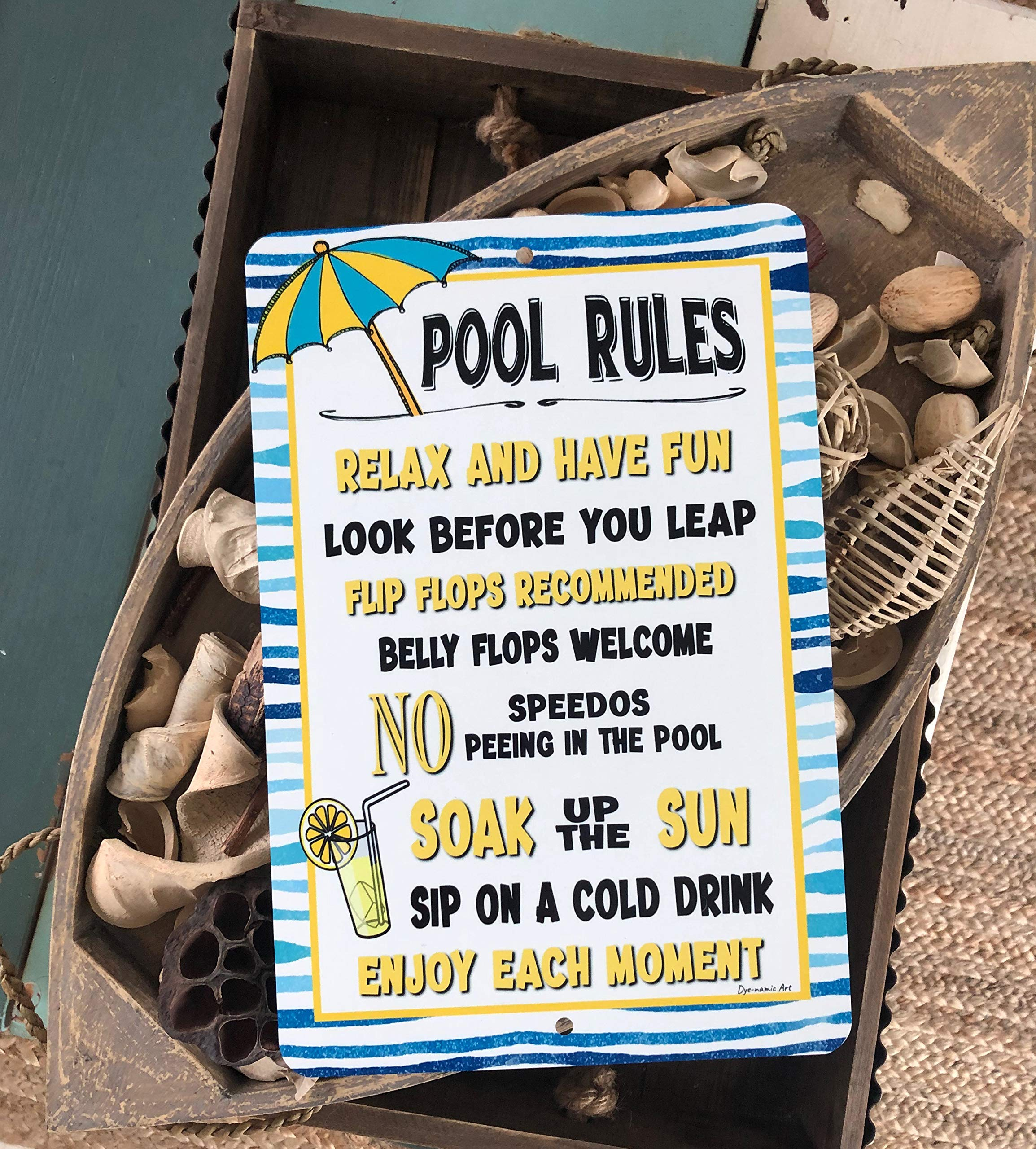 Dyenamic Art Pool Rules Metal Sign Pool Sign Lemonade 8x12 Indoor/Outdoor Pool Sign Aluminum Sign Outdoor Made in USA by Dyenamic Art