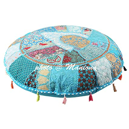 Amazon.com: ManionaCrafts Ethnic Cotton Indian Floor Cushion ...