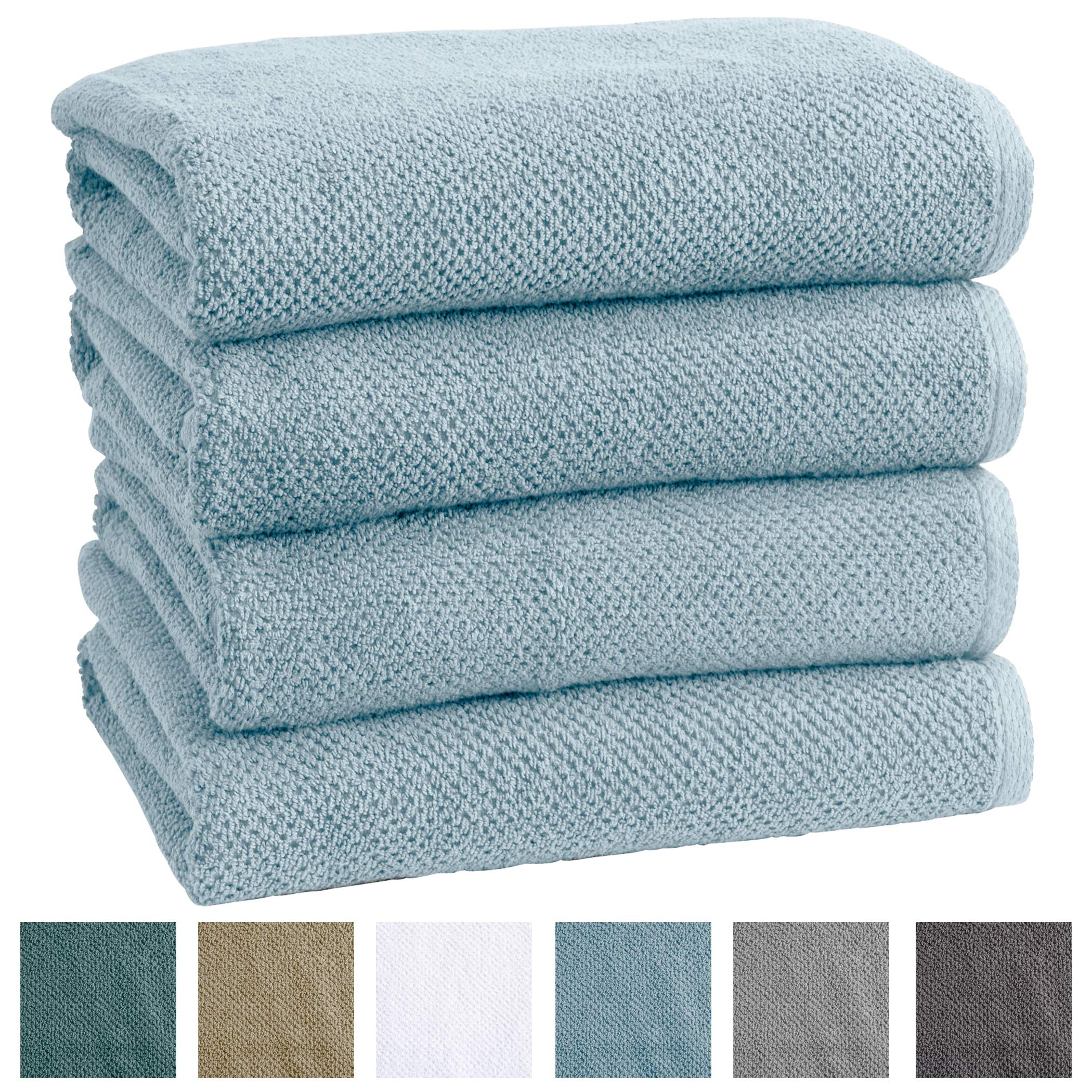 Great Bay Home 4-Pack 100% Cotton, Ultra-Absorbent Textured Bath Towels. 6 Elegant Solid Colors. Popcorn Weave. Acacia Collection. (Bath 4pk, Sterling Blue)