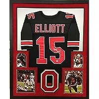 $399 » Ezekiel Elliott Ohio State Buckeyes Autograph Signed Custom Framed Jersey 4 PIC Suede Matted BLACK JSA Witnessed Certified