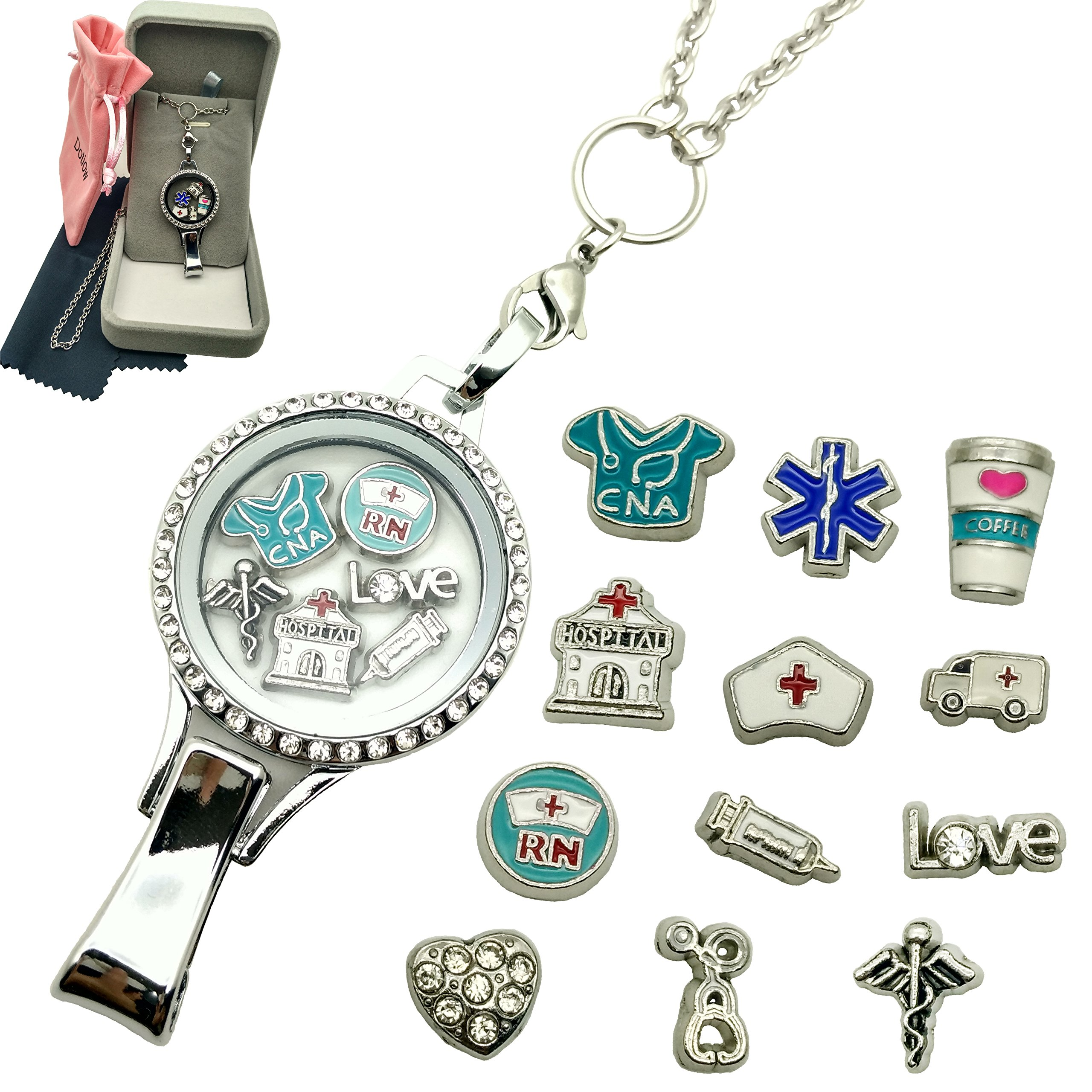 Dotiow Floating Locket Lanyard Glass Locket ID Badge Holder with 12pcs/set Nurse Theme Floating Charms 30 inch Stainless Steel Chain Necklace (Nurse-magnetic-lanyard)