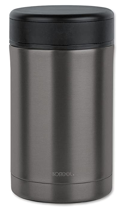 Isosteel VA-9684AT 17 fl. oz 18/8 Stainless Steel Double-Wall Vacuum Food Container, Titanium Gray