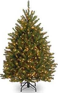 National Tree Company Pre-lit Artificial Christmas Tree| Includes Pre-strung White Lights and Stand | Dunhill Fir - 4 ft