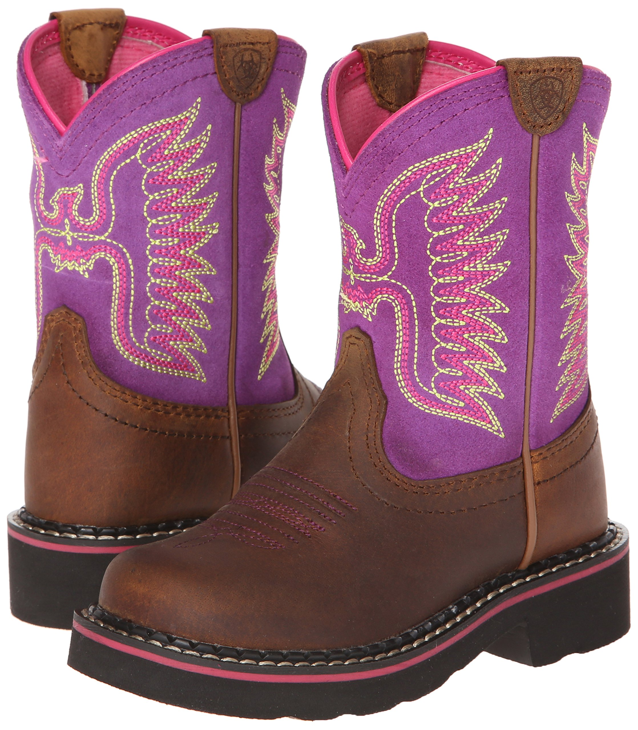 Kids' Fatbaby Thunderbird Western Cowboy Boot, Powder Brown/Amethyst, 12.5 M US Little Kid by ARIAT (Image #6)