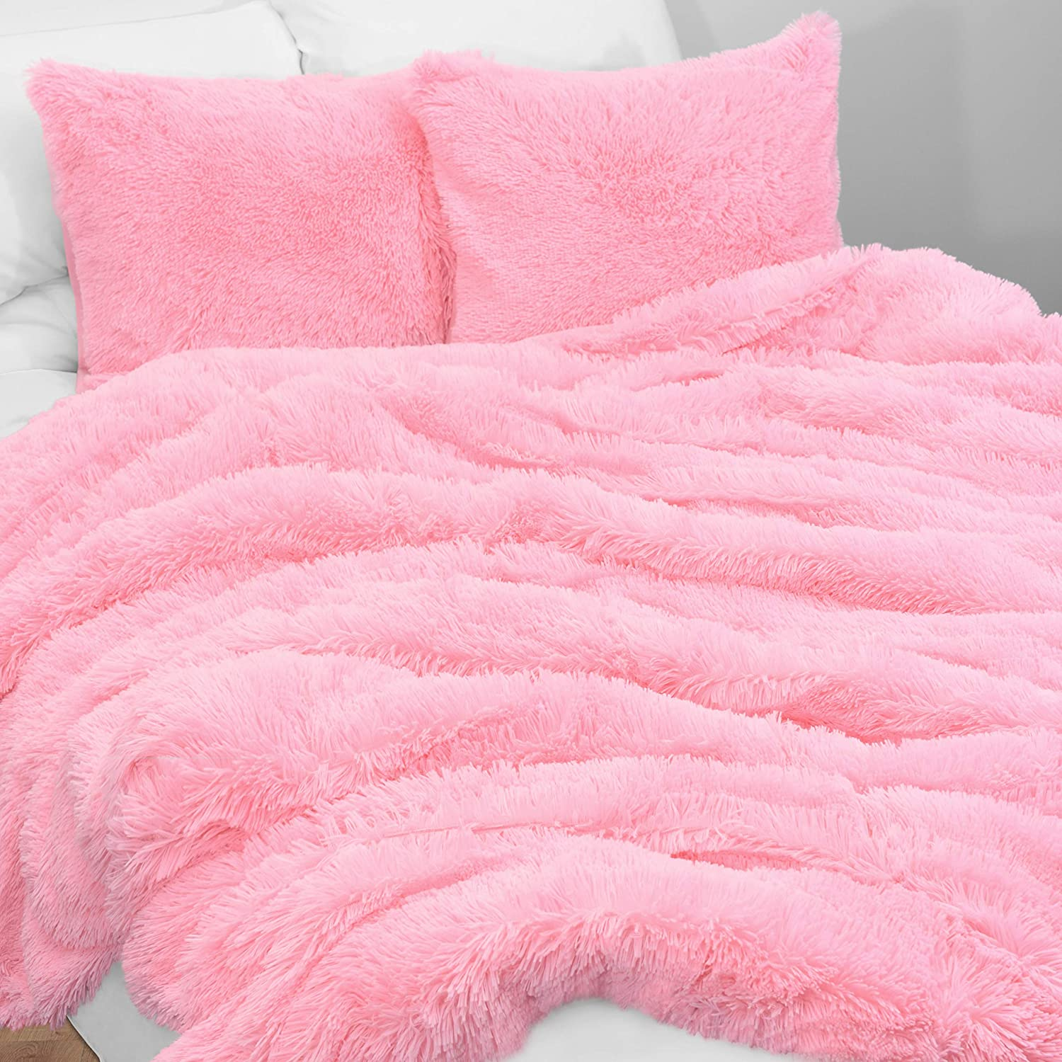 KB & Me Boho Pink Fuzzy Faux Fur Plush Duvet Comforter Cover and Sham 3 pc. Soft Shaggy Fluffy Full/Queen Size Bedding Set Luxury College Dorm Teen