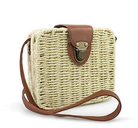 Vintage & Retro Handbags, Purses, Wallets, Bags Hoxis Retro Straw Portable Small Box Woven Womens Cross Body Bag Shoulder Messenger Satchel $23.90 AT vintagedancer.com
