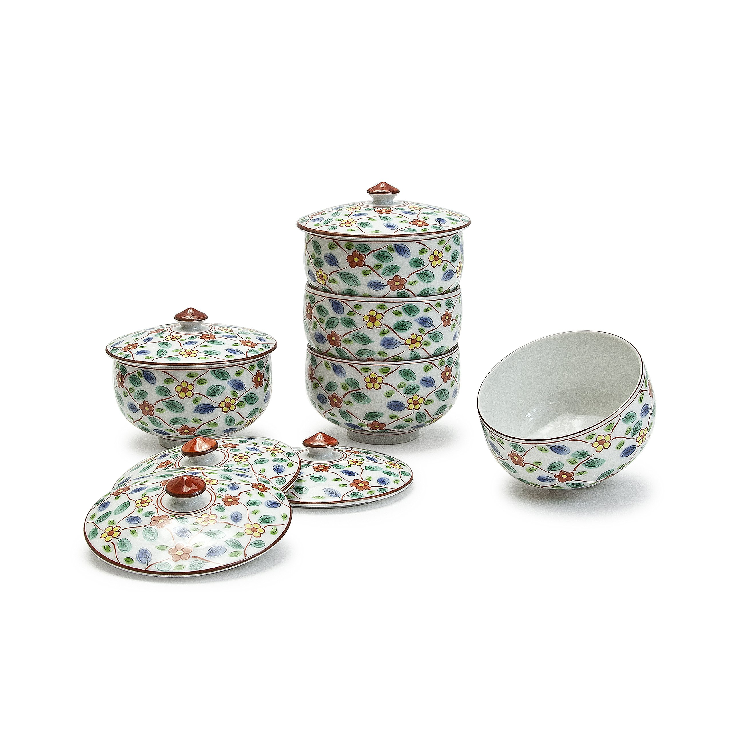 Japanese Flower Tea Cup with Lid, Set of 5