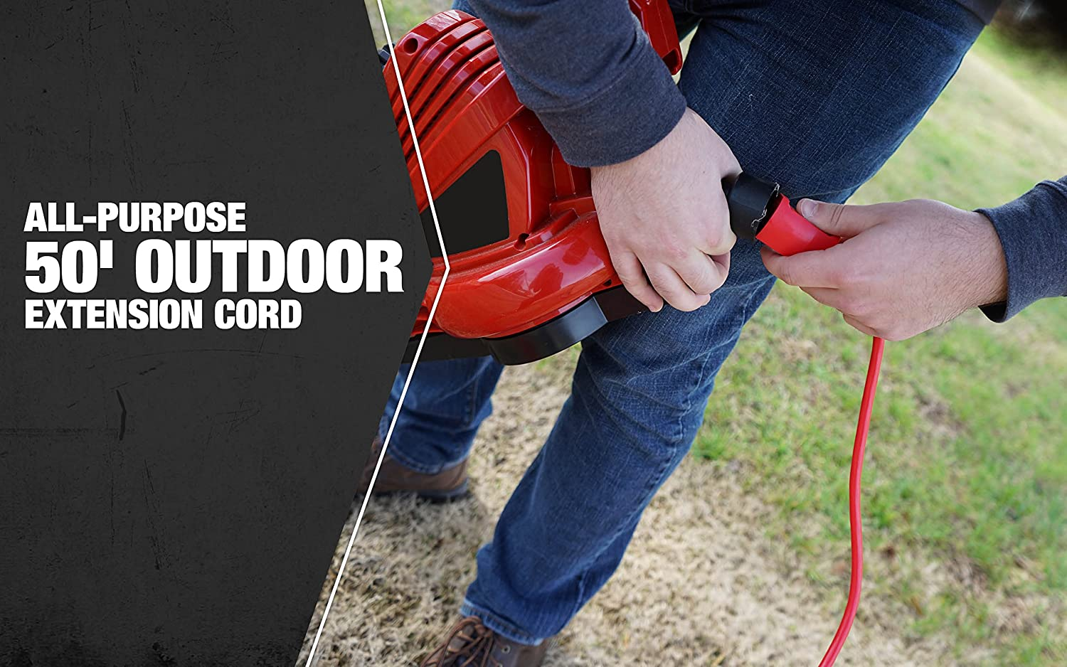 Coleman Cable 02407 14//3 SJTW Vinyl Outdoor Extension Cord Red 25-Foot