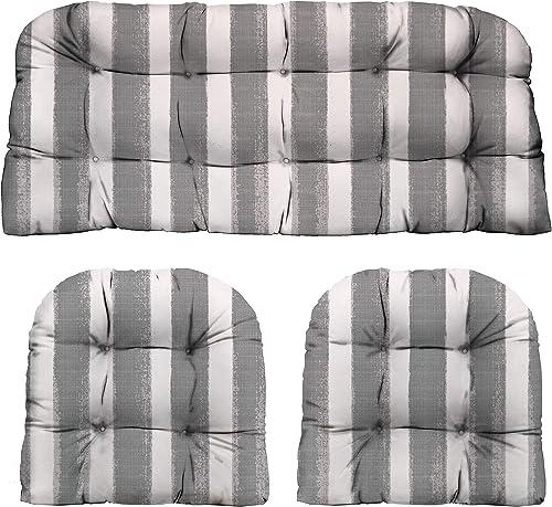 RSH D cor Indoor Outdoor Decorative 3 Piece Tufted Love Seat Settee 2 U-Shaped Chair Cushion Set for Wicker Standard 2-19 x19 41 x19 , Nico Sea Salt Grey Watercolor Stripe