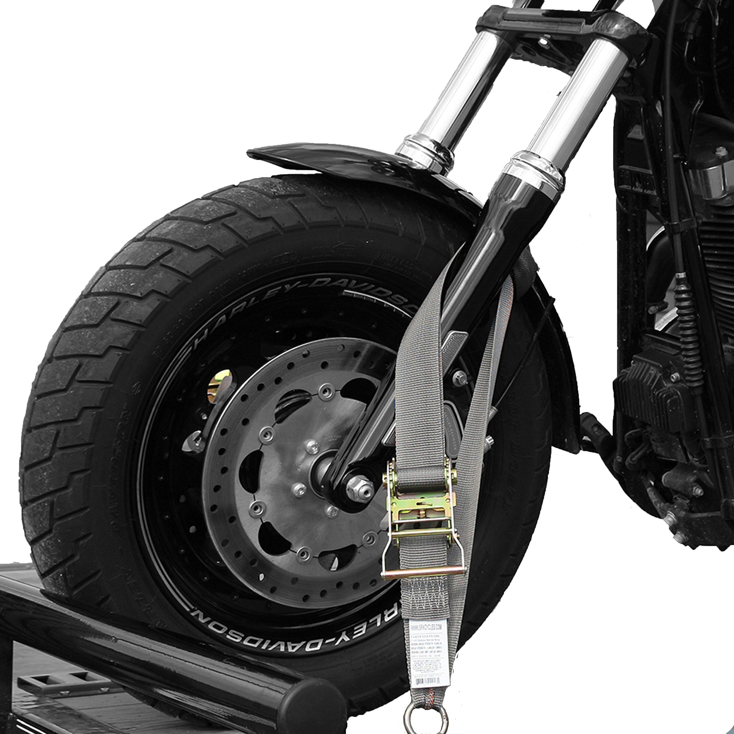 Tank Straps Motorcycle Tie down Straps (2pk) - 10.000 lb Webbing Break Strength 2'' x 10' SUPER Heavy Duty Endless Tie Downs With Ratchet Strap - Strongest in Market