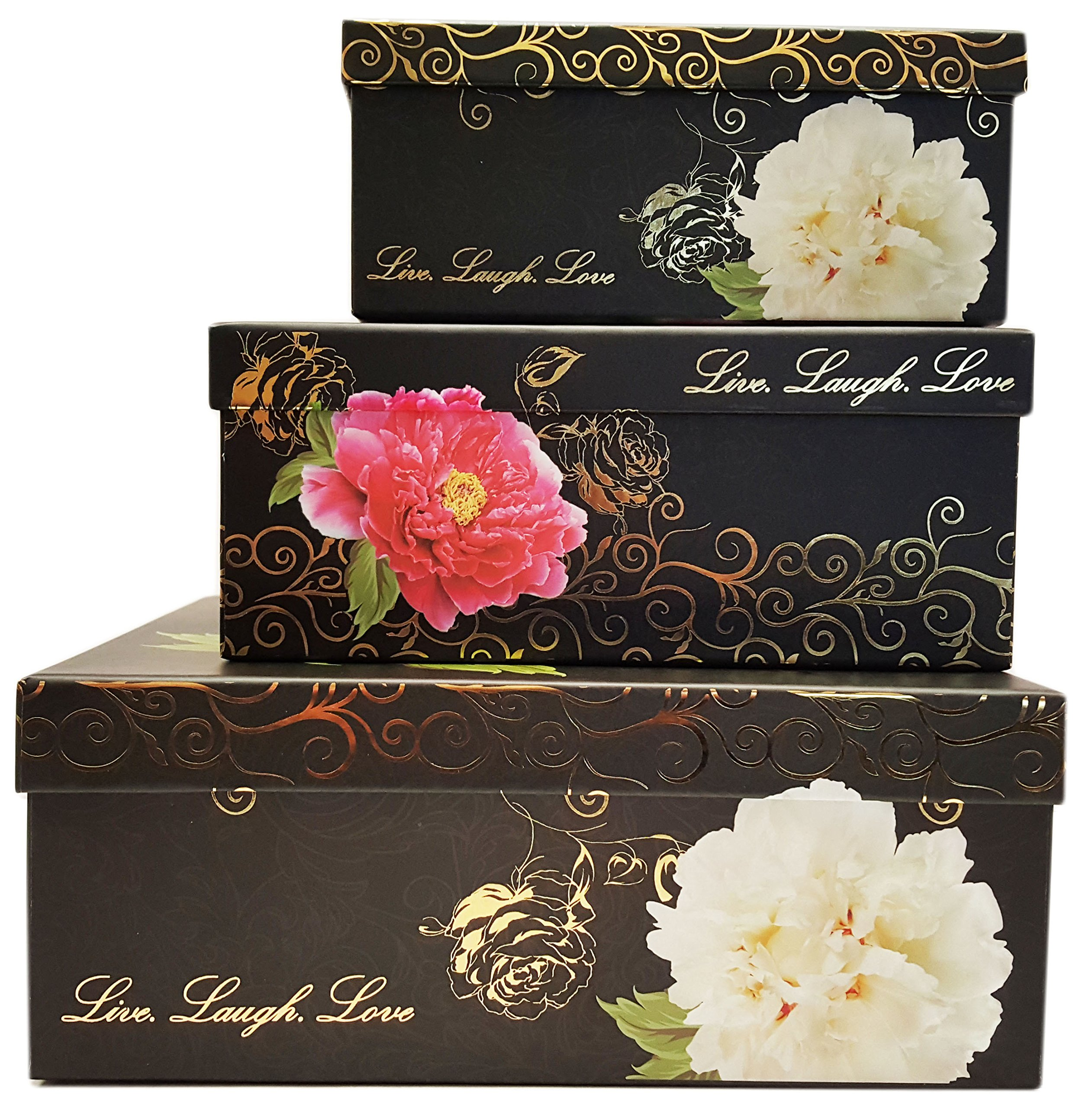 Alef Elegant Decorative Themed Nesting Gift Boxes -3 Boxes- Nesting Boxes Beautifully Themed and Decorated - Perfect for Gifts or Simple Decoration Around the House! (Black & Gold Flower)