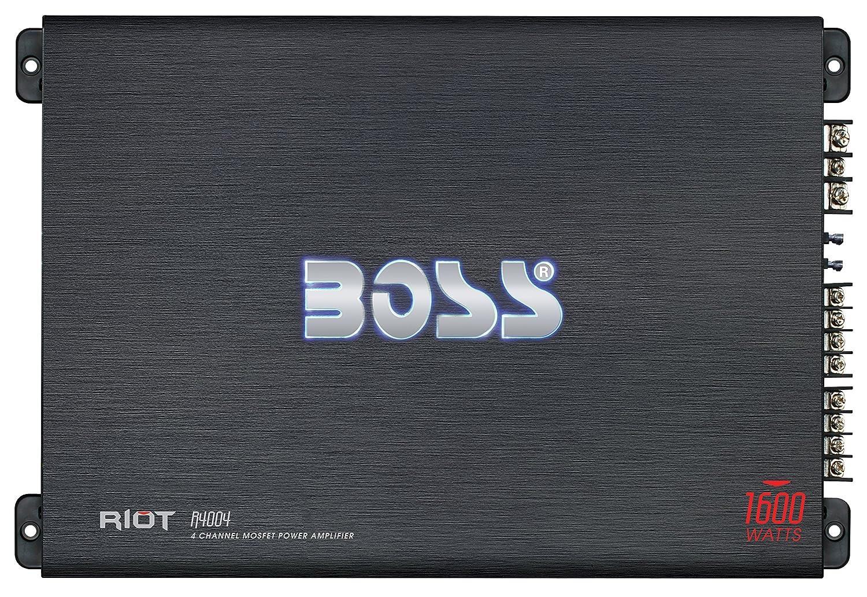 Boss Audio Systems R4004 - Amplificador de audio (4.0, 1600W, A/B, Terminales de abrazadera, 5,7 cm, 39,1 cm) Negro