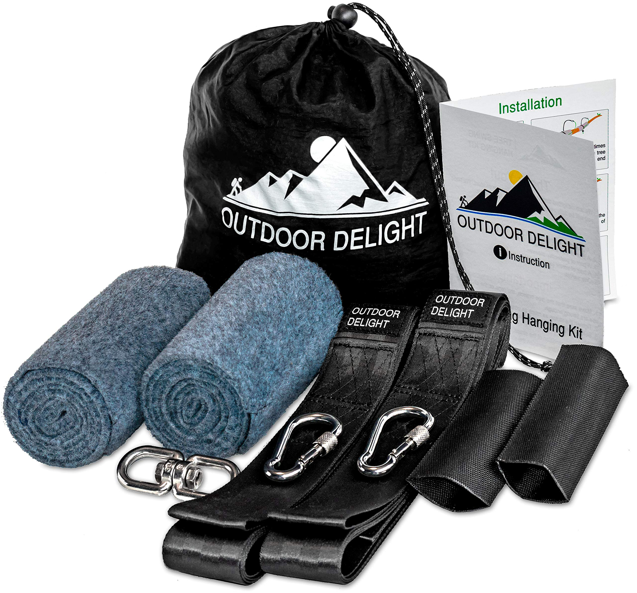 Outdoor Delight Tree Swing Hanging Kit (Set of 2): 10ft Straps (Holds 2200 lbs), Safety Sleeves, Tree Protectors, Heavy-Duty Stainless Steel Carabiners. One Swivel, Instruction, Drawstring Bag.