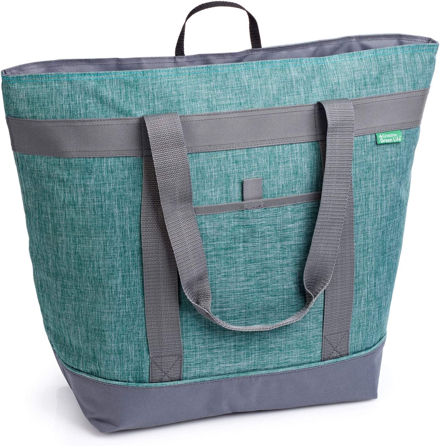 Jumbo Insulated Cooler Bag (Green) with HD Thermal Foam Insulation. Premium Quality Soft Sided Cooler Makes a Perfect Insulated Grocery Bag, Food Delivery Bag, Travel Cooler, or Picnic Cooler.