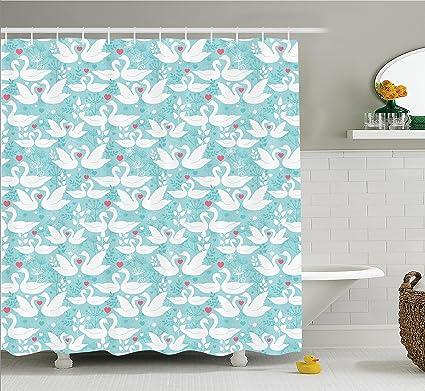 Animal Decor cortina de ducha Set por Ambesonne, cisnes en amor en Paisley Floral romántico de ...