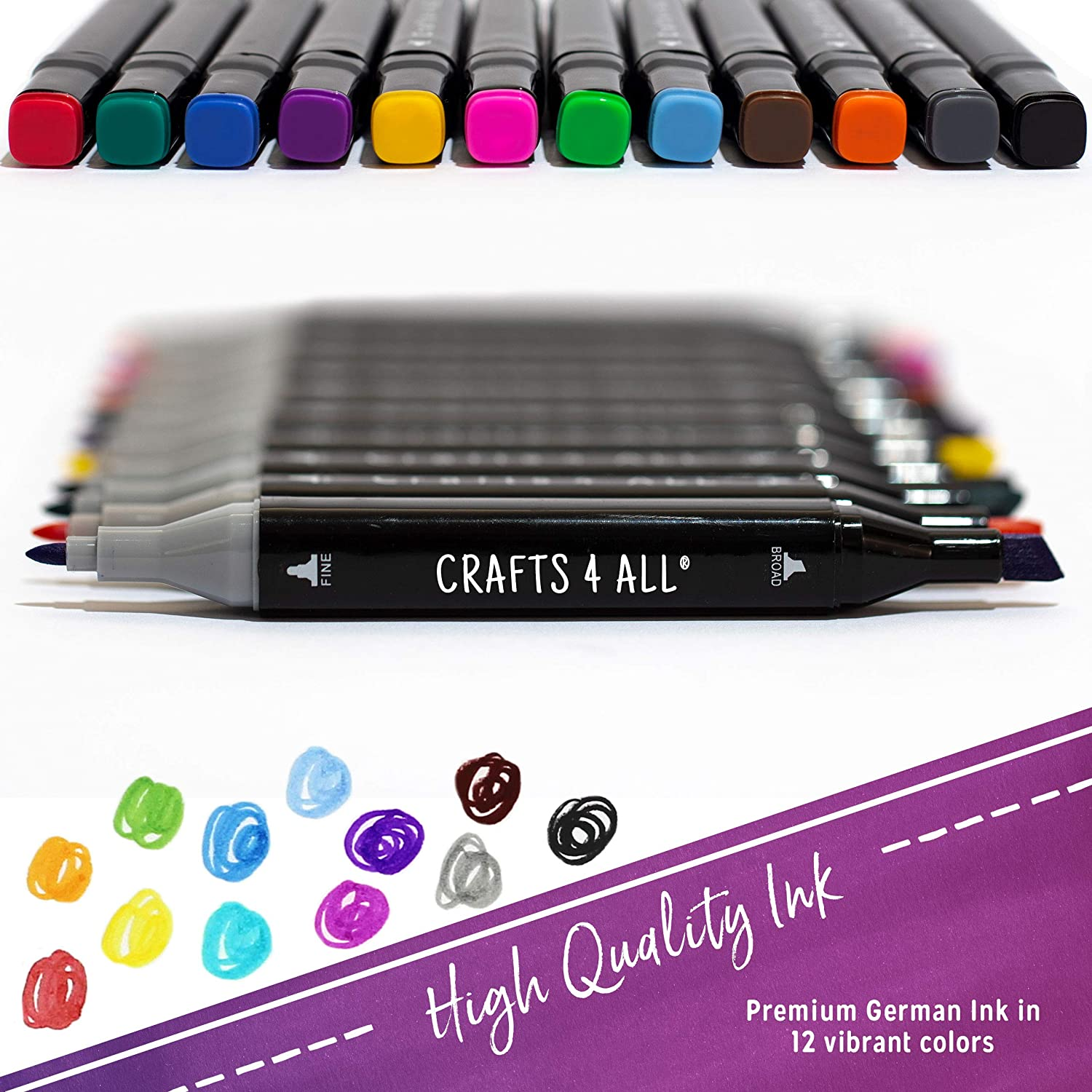 Crafts 4 ALL Fabric Markers Pens Permanent 12 Pack Dual Tip Minimal Bleed Rich /&
