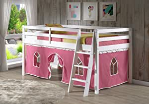 Alaterre Roxy Pine Twin Junior Loft Bed Cinnamon with Blue /& Red Tent