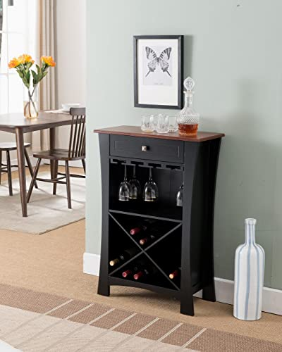 Kings Brand Hiland Bar Cabinet Wine Storage