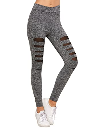 81a42b5948471 SweatyRocks Legging Women Grey Knit Mesh Insert Ripped Tights Yoga Slim Pants  XS