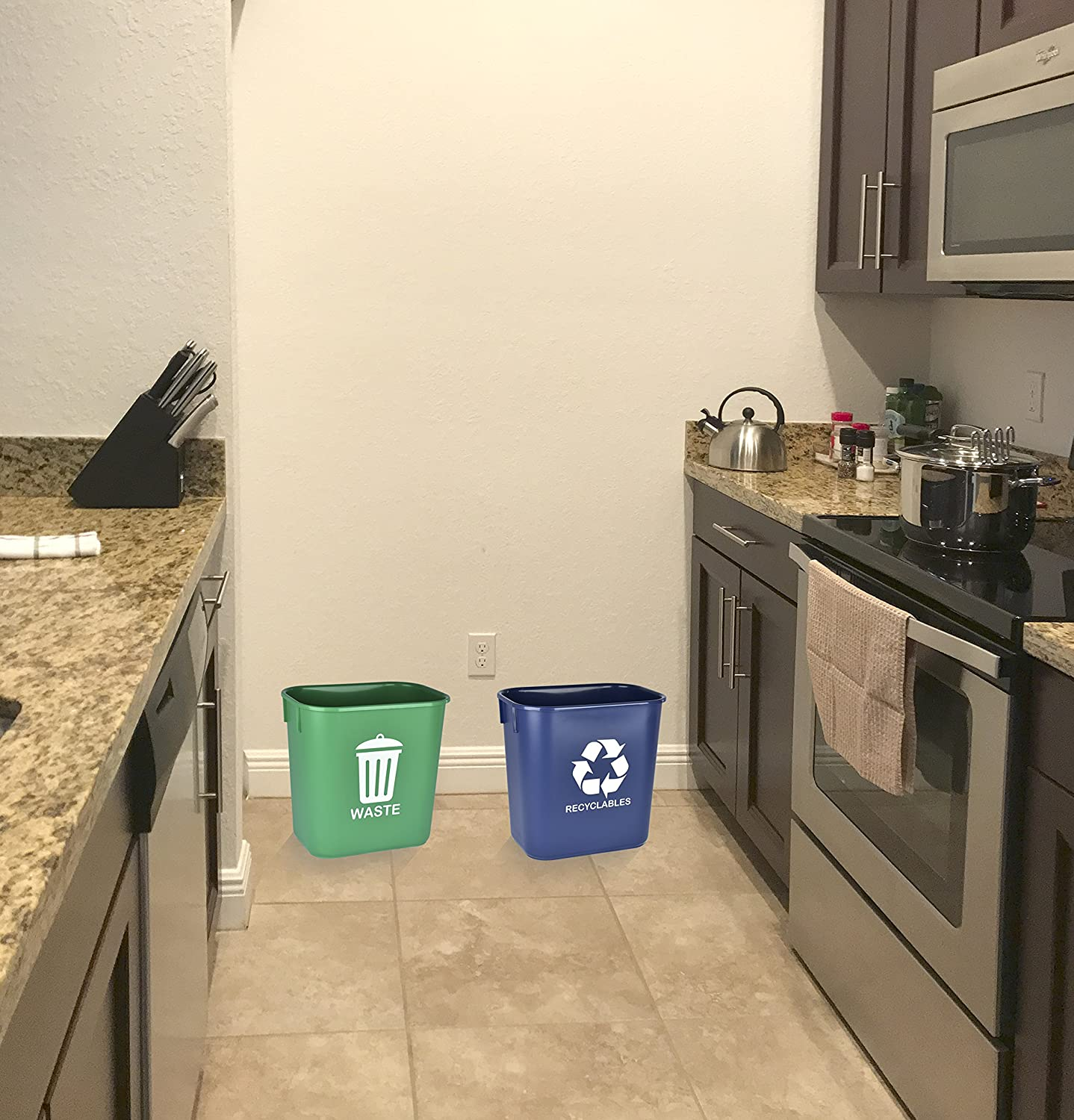2 Units 578.3 Green and Blue Acrimet Wastebasket for Recycling and Waste 13QT