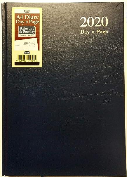 Agenda de a día por página 2019, tamaño A4, con tapa dura, con página completa para sábado y domingo, agenda de escritorio DAP, color negro A4 (29 X ...