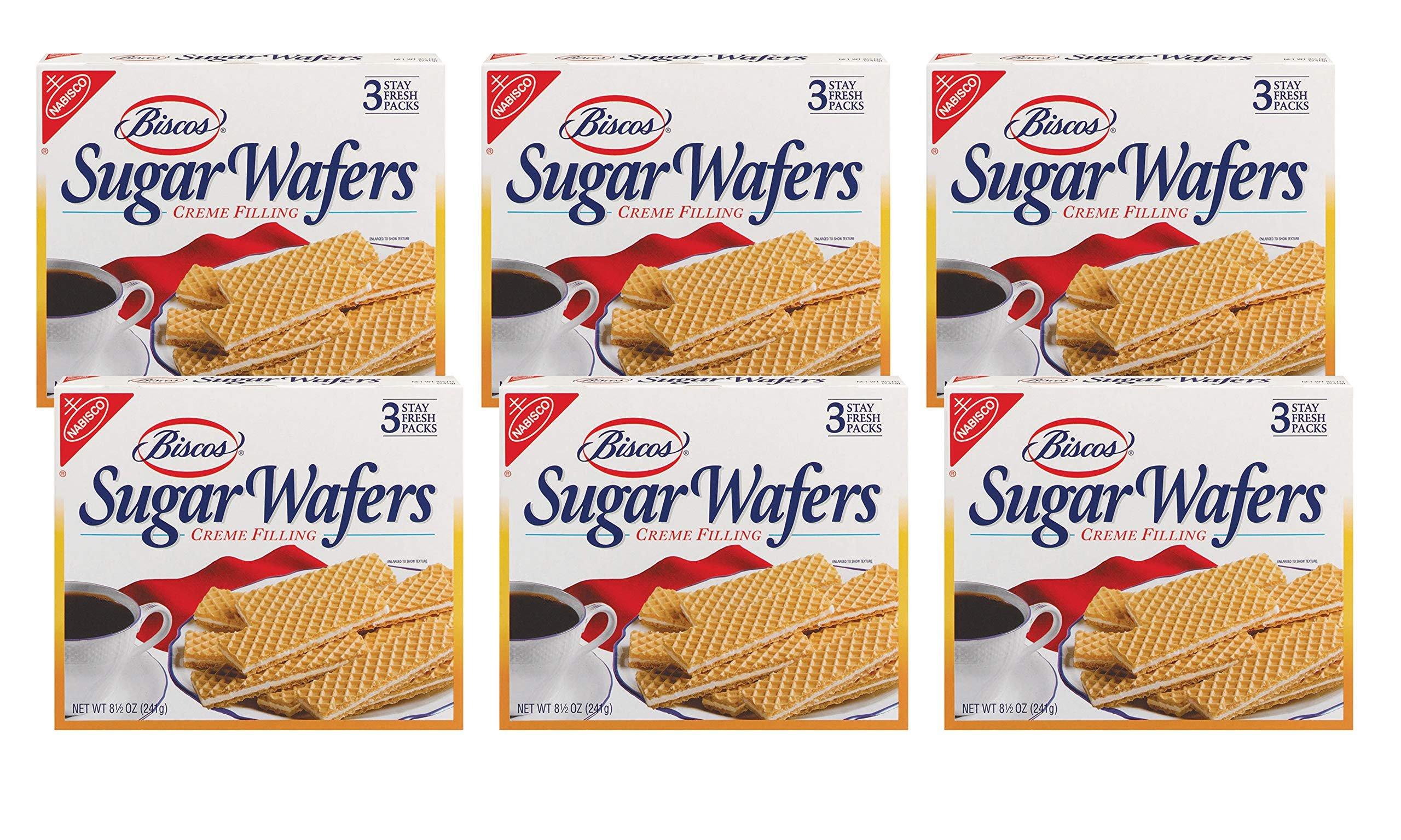 Biscos Sugar Wafers with Creme Filling, 8.5 Ounce (Pack of 6) by Biscos