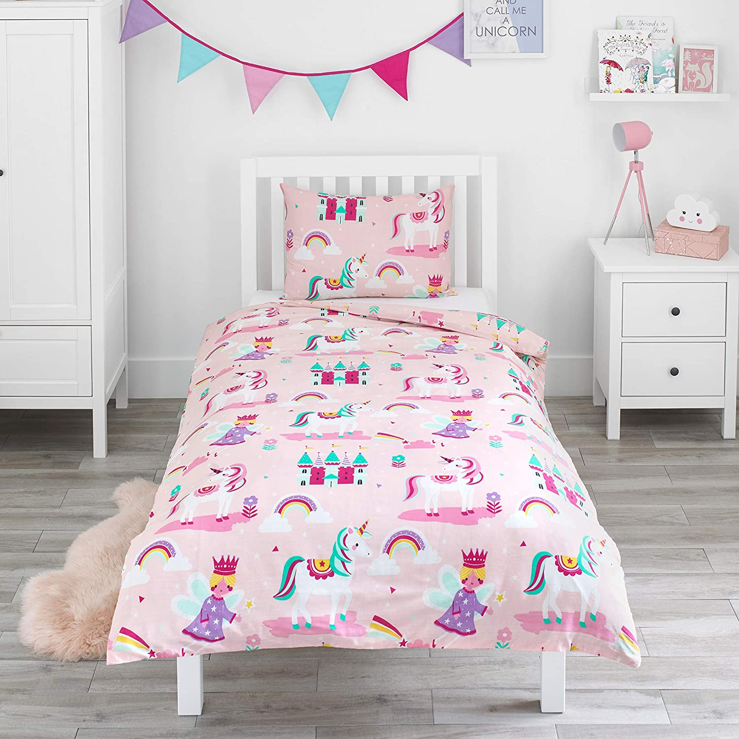 2 Piece Kids Cotton Duvet Cover /& Pillowcase for Crib Cot Bed and Junior Bed