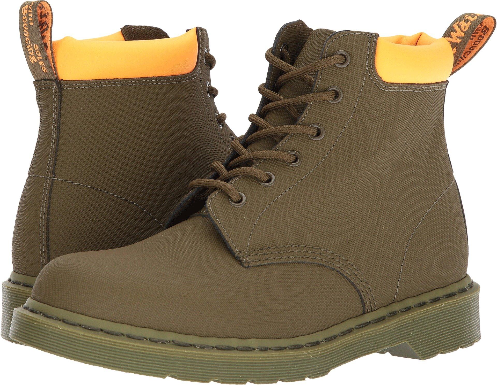 Dr. Martens Men's 939 6-Eye Padded Collar Boots, Olive, Leather, 9 M UK, 10 M US