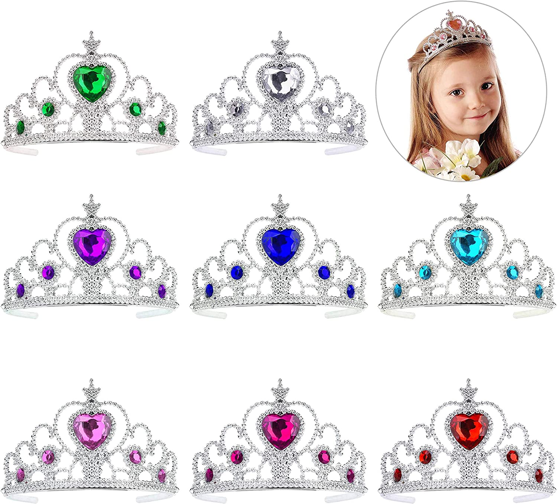 QIMEI-SHOP Niños Princesa Tiara 8 Piezas Corona Conjunto Dress up Accesorios para Niñas Cumpleaños Fiesta