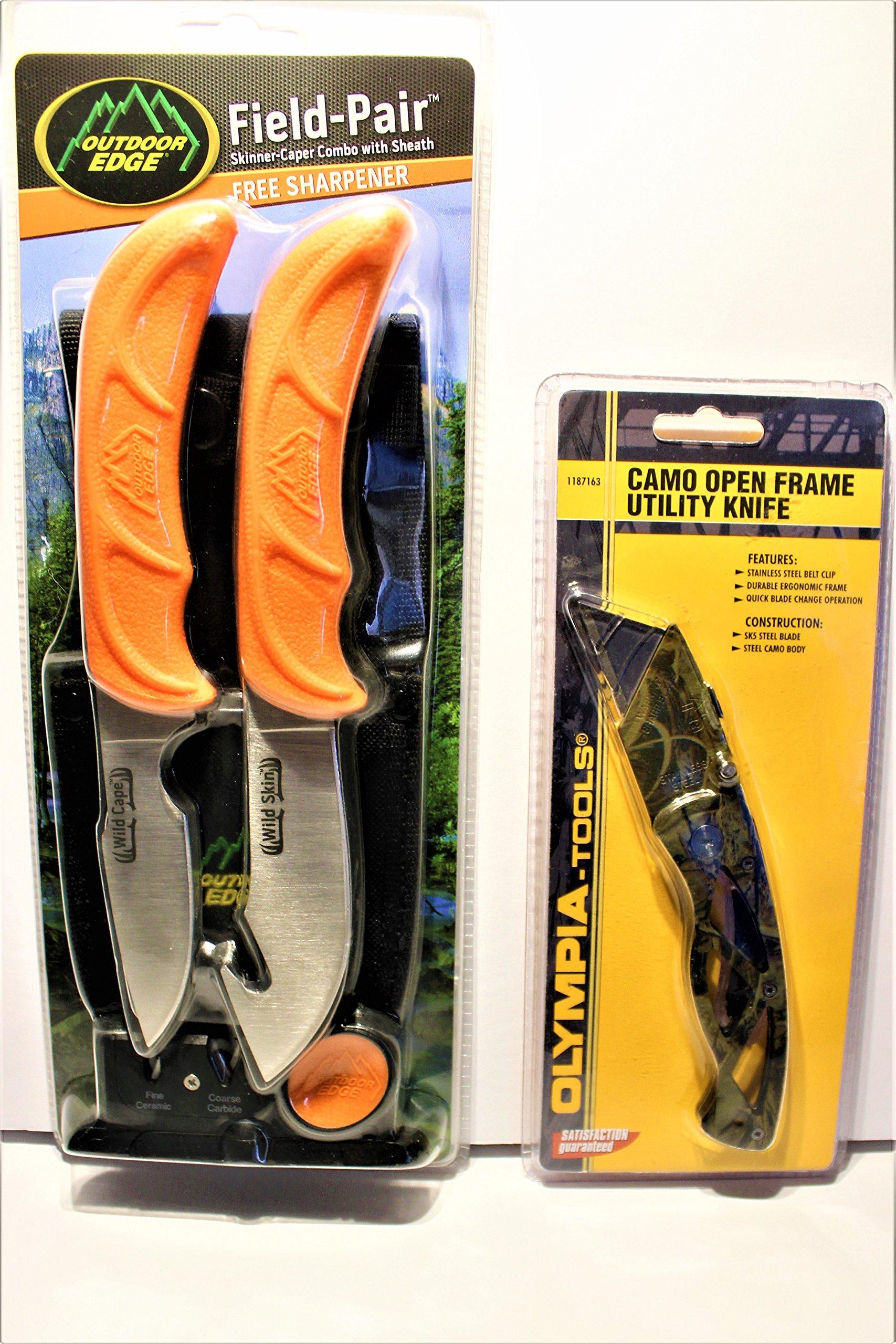 Field-Pair Skinner-Caper Combo with sheath, sharpener, and Bonus Utility Knife