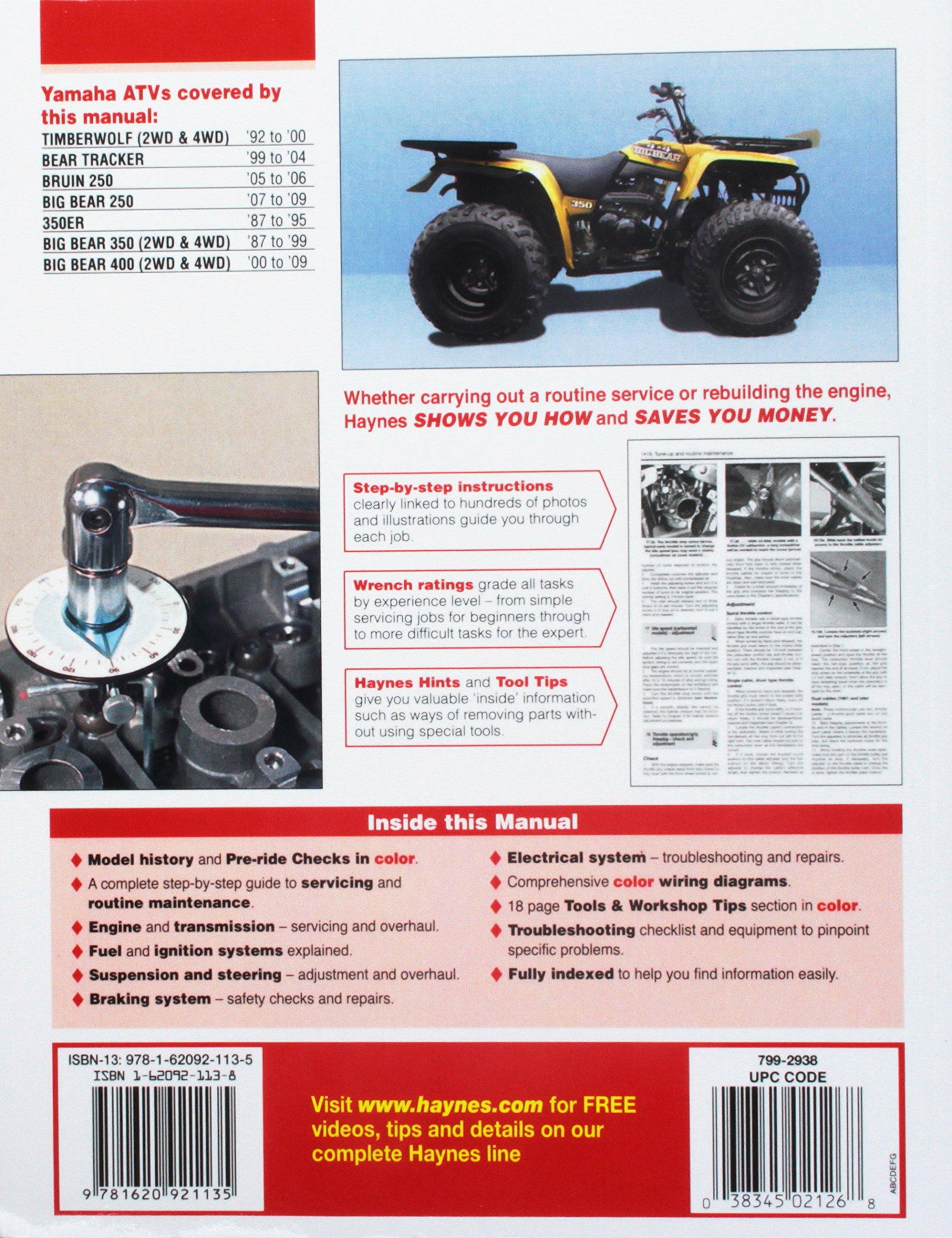 Yamaha Atvs Timberwolf Bruin Bear Tracker 350er And Big 1987 350 Wiring Diagram 2009 Haynes Service Repair Manual Editors Of Manuals 9781620921135