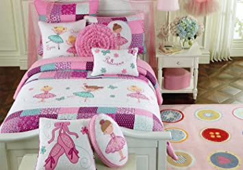 toddler bedding set ballerina quilt turquoise purple pink cotton embroider girl bedding twin quilt - Toddler Girl Bedding