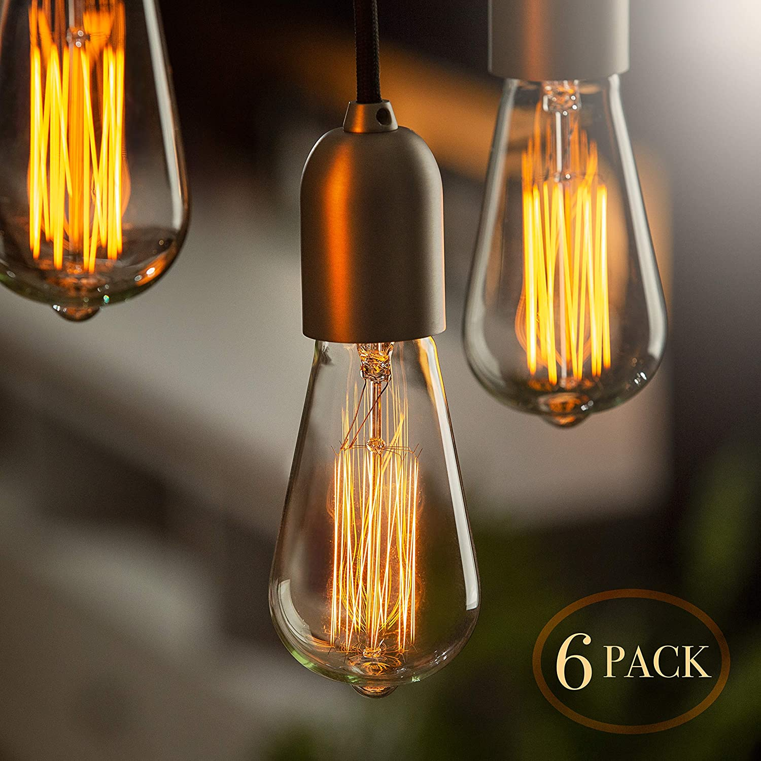 Edison bulb 6 pack vintage incandescent light bulbs for home office lighting 60 watt light bulbs for vintage lamps and fixtures clear glass