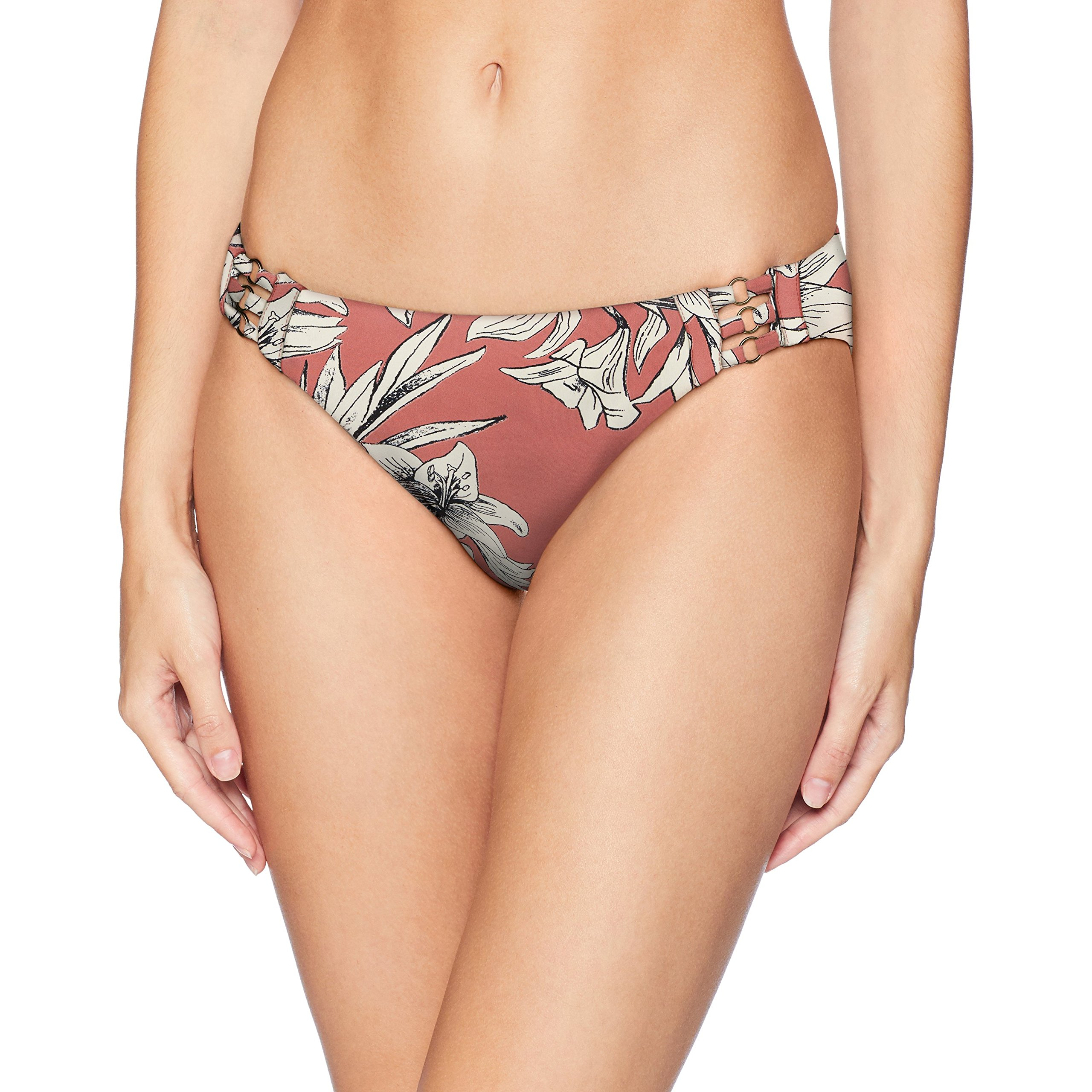 Roxy Junior's Printed Softly Love Full Bikini Swimsuit Bottom, Withered Rose Lily House, S