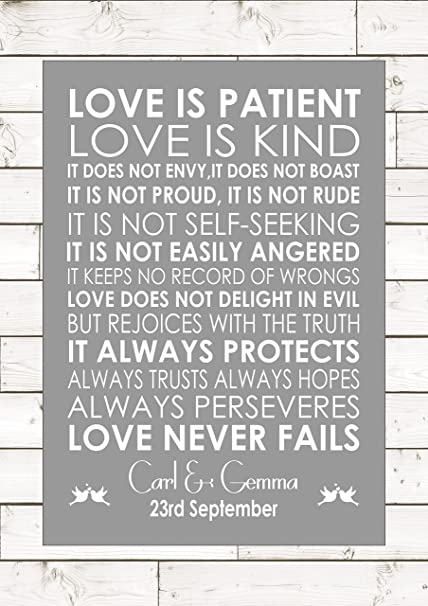1 Corinthians 13 Wedding Reading.Love Is Patient Love Is Kind Wedding Anniversary Personalised 1 Corinthians 13 Reading Wall Art Wedding Anniversary Engagement Song Personalised A4