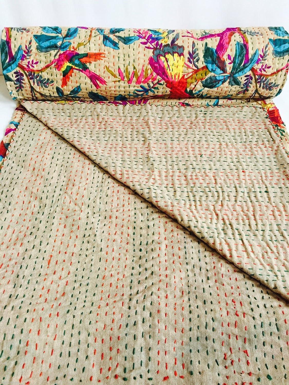 Main Block Kantha souple 90/x 108 imprim/é Kantha Couvre-lit indien Kantha Couverture Couette King faite /à la main Kantha Couvre-lit brod/ée,