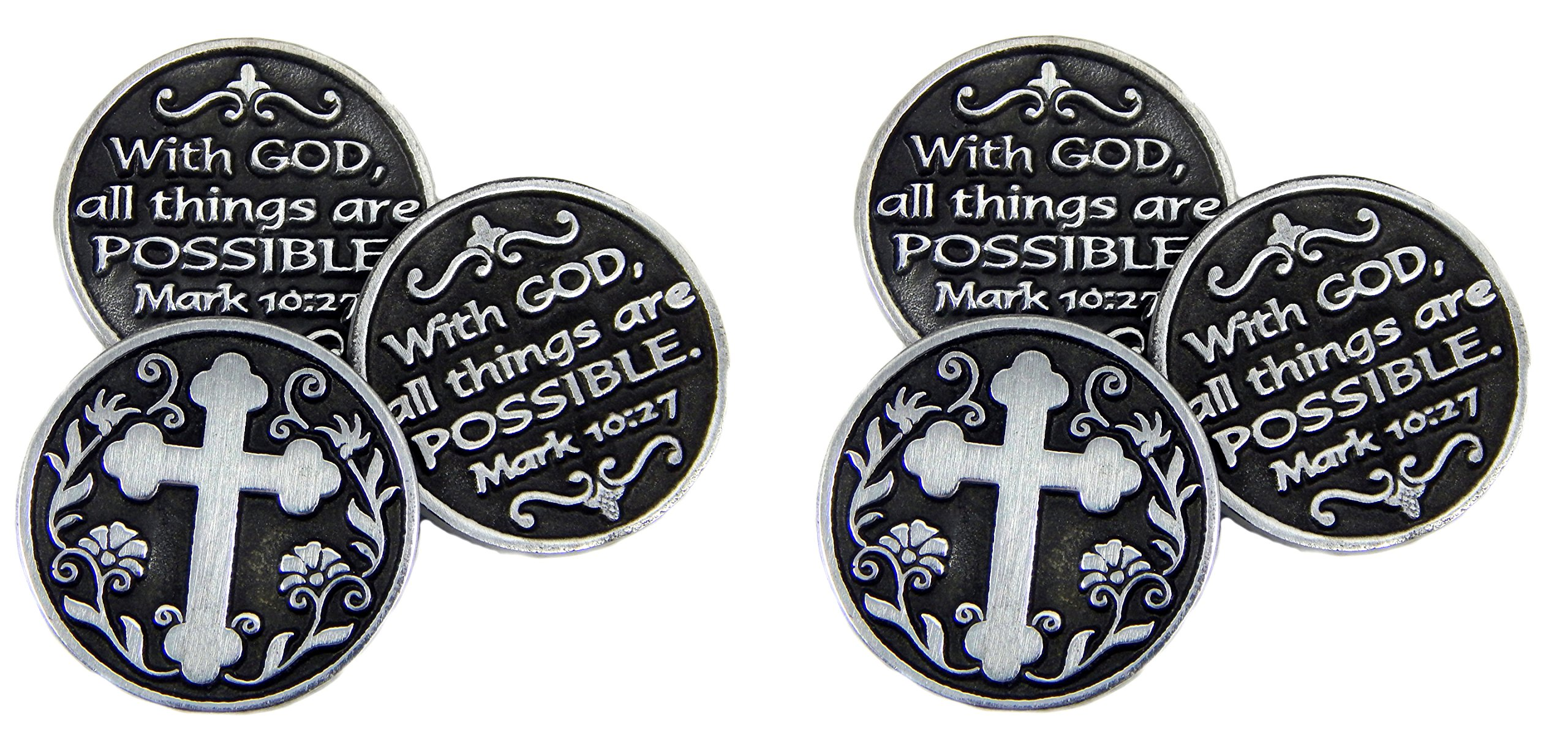 Pewter POCKET Tokens WITH GOD All Things ARE Possible - MARK 10:27 - 1'' Metal Coin - INSPIRATIONAL Gift - KEEPSAKE - Set of 6 by CA