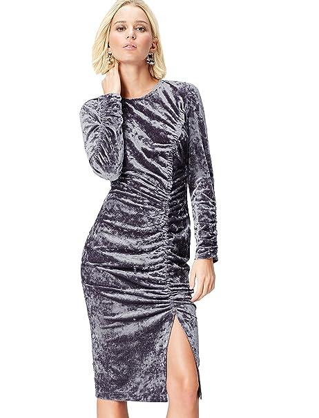 FIND 13760 Vestido Fiesta Mujer, Gris (Grey), 36 (Talla del Fabricante