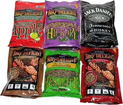 BBQr's Delight Wood Smoking Pellets - Super Smoker Variety Value Pack - 1 Lb. Bag - Apple, Hickory, Mesquite, Cherry, Pecan and Jack Daniel's